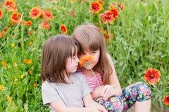 Δύο μικρά παιδιά με τα λουλούδια Στοκ Φωτογραφία