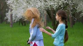 Δύο μικρές φίλες που γύρω από να κάνει τα αστεία hairstyles σε κάθε μια απόθεμα βίντεο