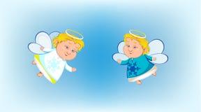 Δύο μικροί άγγελοι που πετούν στην ανασκόπηση ελεύθερη απεικόνιση δικαιώματος
