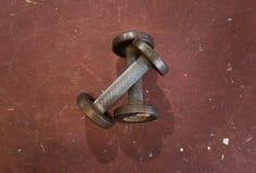 Δύο μικροί παλαιοί αλτήρες μετάλλων στο τραχύ κόκκινο κλίμα σε μια γυμναστική Εξοπλισμός γυμναστικής και ικανότητας Στοκ Φωτογραφία