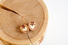 Δύο μισά του ξύλου καρυδιάς στη μορφή της καρδιάς στο ξύλινο κολόβωμα στο λευκό Στοκ Εικόνα
