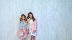 Δύο μοντέρνα κορίτσια μαθητριών θέτουν απόθεμα βίντεο