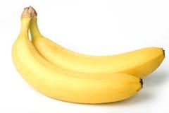 Δύο μπανάνες που απομονώνονται στο λευκό. ψαλίδισμα του μονοπατιού συμ. Στοκ εικόνα με δικαίωμα ελεύθερης χρήσης
