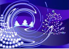 Δύο μπλε δέντρα ελεύθερη απεικόνιση δικαιώματος