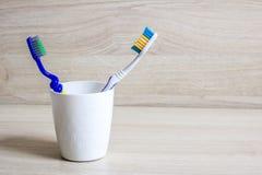 Δύο μπλε οδοντόβουρτσες σε ένα άσπρο γυαλί στοκ φωτογραφία με δικαίωμα ελεύθερης χρήσης