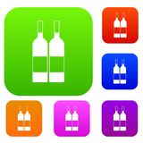 Δύο μπουκάλια της καθορισμένης συλλογής χρώματος κρασιού Στοκ Φωτογραφία