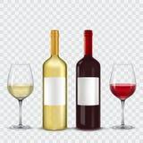 Δύο μπουκάλια και ποτήρια του κρασιού - κόκκινο λευκό διανυσματική απεικόνιση