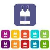Δύο μπουκάλια των εικονιδίων κρασιού καθορισμένων επίπεδων Στοκ εικόνα με δικαίωμα ελεύθερης χρήσης