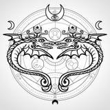 Δύο μυστικά φτερωτά φίδια Ένα υπόβαθρο - ο αλχημικός κύκλος Θρησκεία, μυστικισμός, αποκρυφισμός, μαγεία ελεύθερη απεικόνιση δικαιώματος