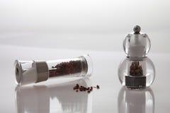 Δύο μύλοι με το πιπέρι και το αλάτι στοκ εικόνες