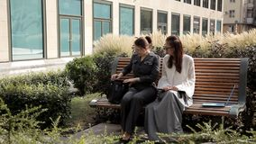 Δύο νέα επιχειρησιακά κορίτσια στη θερινή συνεδρίαση στο πάρκο κοντά στο εμπορικό κέντρο με ένα lap-top Επιχειρησιακές ιδέες απόθεμα βίντεο
