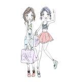 Δύο νέα κορίτσια που κρατούν τις τσάντες αγορών στα χέρια Hand-drawn σκίτσο διανυσματική απεικόνιση