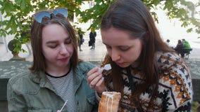 Δύο νέες γυναίκες που κάθονται στο πάρκο και που τρώνε το τσεχικό παγωτό με ένα μικρό πλαστικό κουτάλι απόθεμα βίντεο