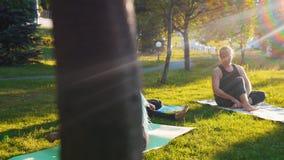 Δύο νέες γυναίκες που κάνουν τις ασκήσεις γιόγκας με τον εκπαιδευτή στο πάρκο - μια γυναίκα έχει τα μακροχρόνια μπλε dreadlocks φιλμ μικρού μήκους