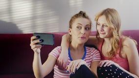 Δύο νέες γυναίκες που μιλούν στην τηλεοπτική συνομιλία Οι θετικές συγκινήσεις, κυματισμός τους παραδίδουν την τηλεφωνική κάμερα απόθεμα βίντεο
