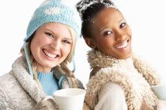Δύο νέες γυναίκες που φορούν τα χειμερινά ενδύματα Στοκ φωτογραφία με δικαίωμα ελεύθερης χρήσης