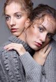 Δύο νέες γυναίκες στα γκρίζα πουλόβερ στο γκρίζο υπόβαθρο όμορφο γ Στοκ εικόνες με δικαίωμα ελεύθερης χρήσης