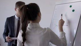 Δύο νέοι επαγγελματίες συζητούν τις ιδέες, που στέκονται κοντά στο μαγνητικό πίνακα στην ομιλία εσωτερικού, ανδρών και γυναικών γ απόθεμα βίντεο