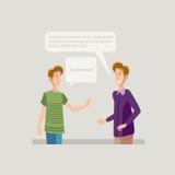Δύο νέοι σπουδαστές αγοριών που μιλούν την επικοινωνία φίλων απεικόνιση αποθεμάτων
