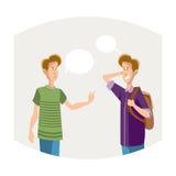 Δύο νέοι σπουδαστές αγοριών που μιλούν την επικοινωνία φίλων διανυσματική απεικόνιση