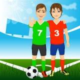 Δύο νέοι φίλοι ποδοσφαιριστών διανυσματική απεικόνιση