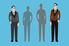 Δύο νεαροί άνδρες και δύο σκιές επίσης corel σύρετε το διάνυσμα απεικόνισης διανυσματική απεικόνιση