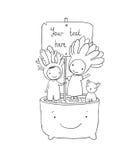 Δύο νεράιδες succulent, γάτα και δοχείο απεικόνιση αποθεμάτων