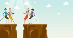 Δύο ομάδες επιχειρηματιών που τραβούν το σχοινί Στοκ εικόνα με δικαίωμα ελεύθερης χρήσης