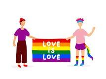 Δύο ομοφυλόφιλοι που κρατούν τη σημαία ουράνιων τόξων διανυσματική απεικόνιση