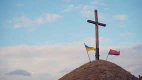 Δύο ουκρανικές σημαίες απόθεμα βίντεο