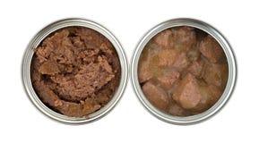 Δύο δοχεία των ανοιγμένων τροφίμων σκυλιών Στοκ εικόνα με δικαίωμα ελεύθερης χρήσης