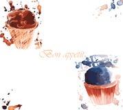 Δύο παγωτά watercolor στο φλυτζάνι Στοκ φωτογραφία με δικαίωμα ελεύθερης χρήσης