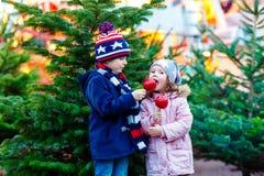 Δύο παιδάκια που τρώνε το μήλο ζάχαρης στην αγορά Χριστουγέννων Στοκ εικόνα με δικαίωμα ελεύθερης χρήσης