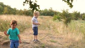 Δύο παιδιά παίζουν στην ακτή της λίμνης, αργό MO φιλμ μικρού μήκους