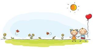 Δύο παιδιά στο πράσινο λιβάδι απεικόνιση αποθεμάτων