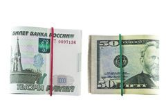 Δύο πακέτα 1000 - ρούβλι και 50 - δολάριο Στοκ Εικόνα