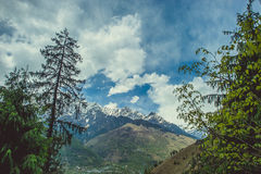 Δύο πεύκα στο μπλε ουρανό υποβάθρου με τα σύννεφα και Himalayan mountans Στοκ Εικόνα