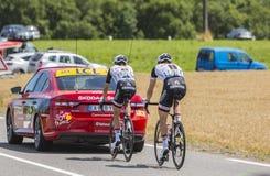 Δύο ποδηλάτες - γύρος de Γαλλία 2017 Στοκ Φωτογραφίες