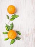 Δύο πορτοκαλιά φρούτα με τα πράσινα φύλλα επάνω με το ξύλινο υπόβαθρο Στοκ φωτογραφία με δικαίωμα ελεύθερης χρήσης
