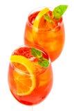 Δύο ποτήρια του κοκτέιλ aperol spritz Στοκ Εικόνα