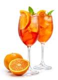 Δύο ποτήρια του κοκτέιλ aperol spritz Στοκ εικόνες με δικαίωμα ελεύθερης χρήσης