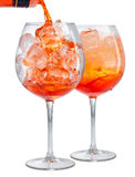 Δύο ποτήρια του κοκτέιλ aperol spritz Στοκ φωτογραφία με δικαίωμα ελεύθερης χρήσης