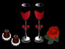 Δύο ποτήρια του κόκκινου κρασιού, σοκολάτες και αυξήθηκαν σε ένα μαύρο υπόβαθρο απεικόνιση αποθεμάτων