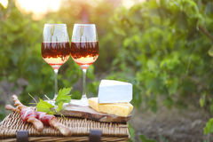 Δύο ποτήρια του ροδαλού κρασιού με το ψωμί, το κρέας, το σταφύλι και το τυρί Στοκ φωτογραφία με δικαίωμα ελεύθερης χρήσης