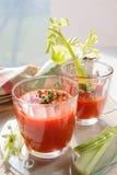 Δύο ποτήρια του φρέσκου χυμού ντοματών με το θυμάρι και το σέλινο Στοκ εικόνα με δικαίωμα ελεύθερης χρήσης