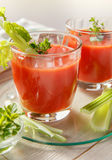 Δύο ποτήρια του φρέσκου χυμού ντοματών με το θυμάρι και το σέλινο Στοκ εικόνες με δικαίωμα ελεύθερης χρήσης