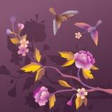 Δύο πουλιά στον κήπο λουλουδιών βραδιού Στοκ Φωτογραφίες