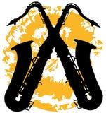 Δύο που διασχίζονται saxophones Στοκ Φωτογραφία
