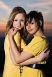 Δύο προκλητικά νέα κορίτσια που αγκαλιάζουν το ένα το άλλο Στοκ εικόνα με δικαίωμα ελεύθερης χρήσης
