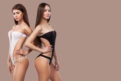 Δύο προκλητικές γυναίκες brunette που φορούν τη γραπτή swimwear τοποθέτηση στο καφετί υπόβαθρο σώμα τέλειο Καλοκαίρι μπικινιών Στοκ εικόνα με δικαίωμα ελεύθερης χρήσης